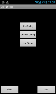 Application Home Using DialogBoxes in Android