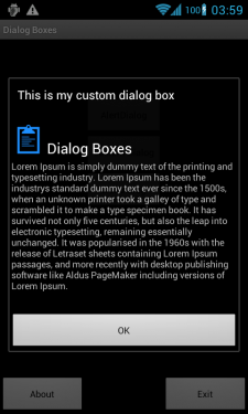 Custom Dialog Box Using Android DialogBox