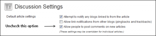 Uncheck the option Allow people to post comments on new articles