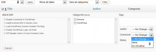 Remove comments from wordpress blogs